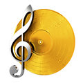 Golden Vinyl With Music Key Stock Photo