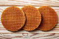 Golden Waffle wafer biscuits in a row Royalty Free Stock Photo