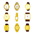 Golden watch collection of nine different watches isolated on white background Stock Photography