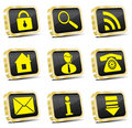 Golden web icon set (gold version) Royalty Free Stock Images