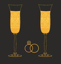 Golden wedding glasses with dekorativnm pattern this is file of eps format Stock Photos