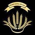 Golden wheat branches logo design
