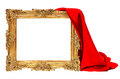 Golden wooden frame with red silk decoration isolated on white background Stock Photography