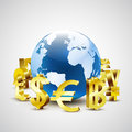 Golden world currency symbols moving around 3d world for global economic Royalty Free Stock Photo
