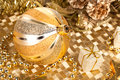 Golden xmas decorations closeup on christmas Royalty Free Stock Photos