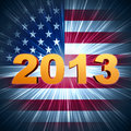Golden year 2013 over shining american flag Stock Photography