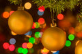 Golden yellow christmas ornaments Stock Image