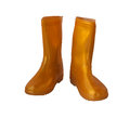 Golden-yellow rain boots on white background. Royalty Free Stock Photo