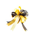 Golden or yellow ribbon bow isolated