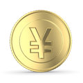 Golden yen coin on white isolated with clipping path Stock Photos