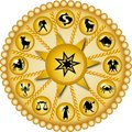 Golden zodiac disc Royalty Free Stock Photos