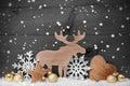 Goldener gray christmas decoration schnee elch hören schneeflocken Lizenzfreie Stockbilder