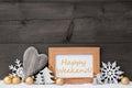 Goldener gray christmas decoration schnee glückliches weekende Stockbilder