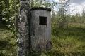 Goldeneye nest box on tree in sweden Royalty Free Stock Images