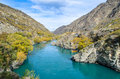 Goldfields jet ride on the Kawarau River to Goldfields Mining Centre in Kawarau Gorge,south island of New Zealand. Royalty Free Stock Photo