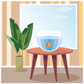 Goldfish in aquarium vector illustration of a which is on table room eps Stock Image