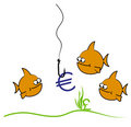 Goldfish euro cartoon Stock Photography