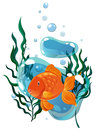 Goldfish swimming under the water Royalty Free Stock Photo
