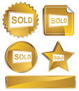 Goldish - Sold Sign Royalty Free Stock Photo