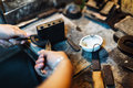 Goldsmith crafting jewels Royalty Free Stock Photo