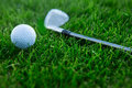 Golf background with driver and ball Royalty Free Stock Photo