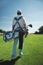 Golf bag man Royalty Free Stock Photo
