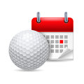 Golf ball and calendar Royalty Free Stock Images
