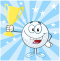 Golf ball cartoon character holding prize trophy cup happy Stock Photo