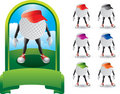 Golf ball cartoon characters with visors Royalty Free Stock Photos