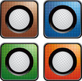 Golf ball on checkered web buttons Stock Images