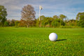 Golf ball on the course with flag Stock Photography