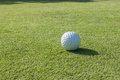 Golf ball on course with green grass Stock Photos