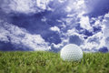 Golf-ball on course and sky Royalty Free Stock Photo