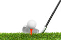 Golf ball on course with the white background Stock Photos
