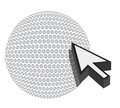 Golf ball with cursor arrow - sport shopping Royalty Free Stock Photos