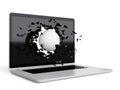 Golf ball destroy laptop art concept Royalty Free Stock Photos