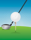 Golf Ball and Driver Illustration Royalty Free Stock Photo