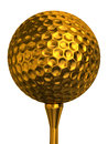 Golf ball gold on tee golden isolated white background clipping path included Stock Image
