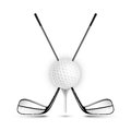 Golf ball and golf stick  on the white. Royalty Free Stock Photo
