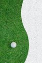 Golf ball on the grass for web background white green Stock Images