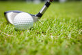 Golf ball in green grass Stock Photography
