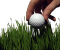 Golf ball in high grass Royalty Free Stock Images