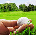 Golf ball in his hand isolated on a background of field Stock Photography