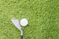 Golf ball before hitting with golf club Royalty Free Stock Photo