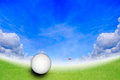Golf ball at the hole on the golf course Royalty Free Stock Photo