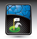 Golf ball hole in one on blue cracked background Royalty Free Stock Photo