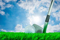 Golf ball and iron club Royalty Free Stock Photo