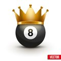 Golf ball with king crown isolated on white traditional form and color realistic vector illustration Stock Photos