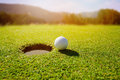 Golf ball on lip of hole over beautiful green loan Royalty Free Stock Photo