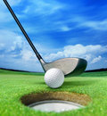 Golf ball near bunker Royalty Free Stock Photo